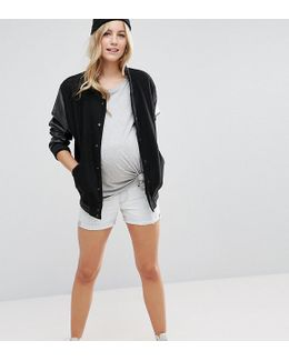 Denim Boyfriend Shorts In Georgia Light Wash Blue With Abrasions