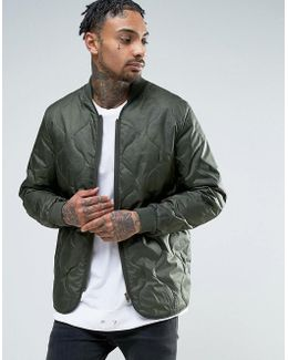 Quilted Bomber Jacket In Khaki
