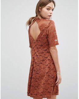 Lace High Neck Shift Dress