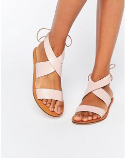 Freckles Leather Lace Up Flat Sandals