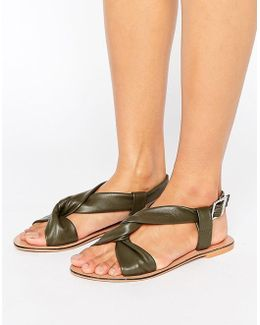 Frisco Soft Leather Cross Strap Sandals