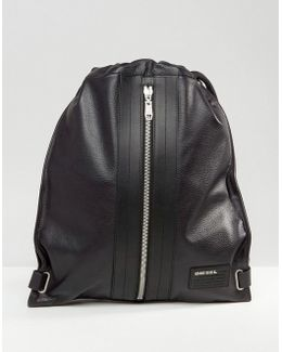 Leather Twice Leather Backpack In Black