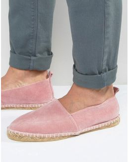 Espadrilles In Pink Faux Suede With Back Pull
