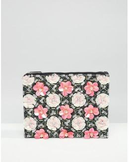 Grid Floral Zip Top Clutch Bag