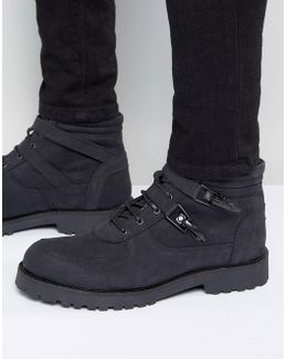 Lace Up Boot With Straps And Chunky Sole In Black Suede