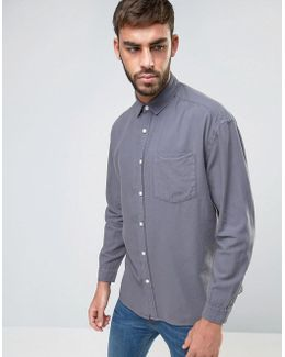 Oversized Casual Washed Oxford Shirt In Grey