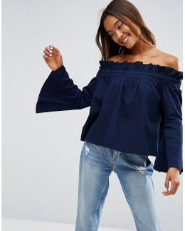 Denim Off Shoulder Top With Flared Sleeves In Blue