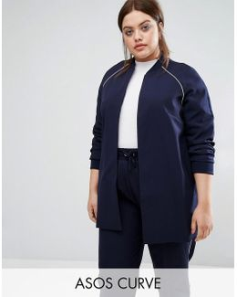Longline Bomber Jacket With Piping Co-ord