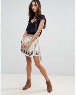 Dream Away Embroidered Wrap Skirt
