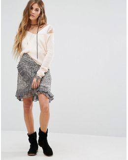 Around The World Printed Wrap Skirt