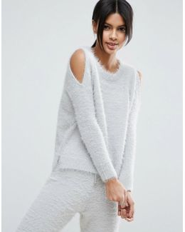 Lounge Jumper With Cold Shoulder In Fluffy Yarn Co-ord