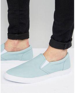Slip On Plimsolls In Pastel Blue