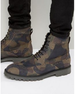 Brogue Boots In Camo Print Suede