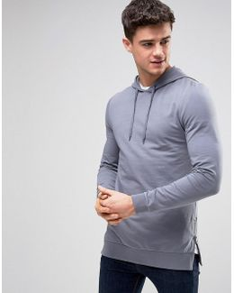 Muscle Hoodie With Side Zips In Blue