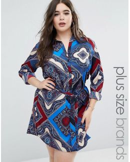 Plus Shirt Dress In Scarf Print