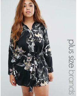 Plus Shirt Dress In Floral Print