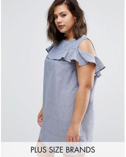 Plus Chambre Dress With Cold Shoulder And Ruffle Detail