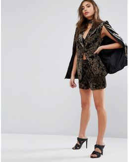 Exclusive Paisley Velvet Shorts Co-ord