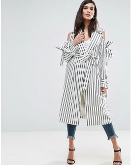 Draped Coat In Stripe With Bows