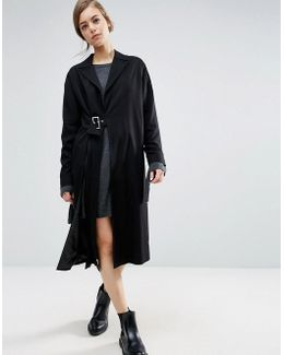 Duster Coat With Split And Buckle Detail