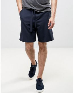 Tailored Wide Leg Shorts With Self Fabric Tie Belt In Navy