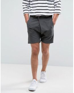 Drop Crotch Asymmetric Shorts With Leather Tie In Charcoal