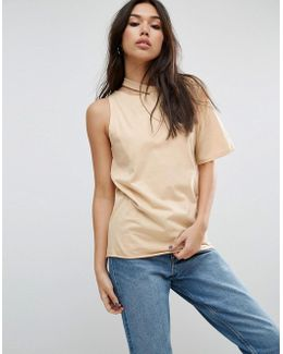T-shirt With One Shoulder And Nibble Detail