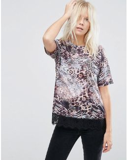 T-shirt With Lace Hem In Mixed Animal Print