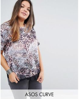 Top Mixed Animal With Lace Hem