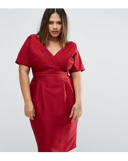 Wiggle Dress With Wrap Front And Seam Detail