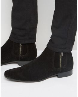 Chelsea Boots In Black Suede With Contrast Elastic And Zip Detail