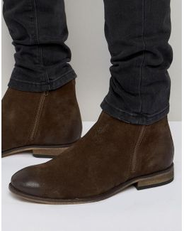 Chelsea Boots In Brown Suede With Double Zip