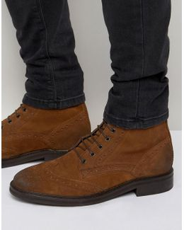 Brogue Boots In Tan Suede With Heavy Sole