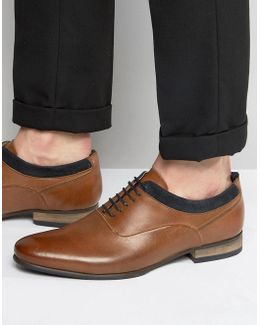 Oxford Shoes In Tan Leather With Navy Suede Detail