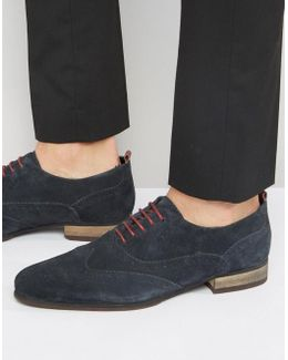 Brogue Shoes In Navy Suede With Burgundy Details