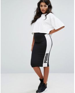 Contrast Side Pencil Skirt In Black