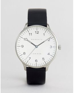 Blip Black Leather Watch With Cream Dial