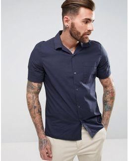 Cuban Collar Shirt With Short Sleeves