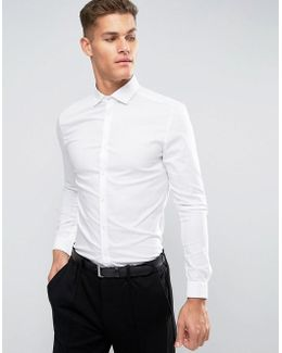 Super Skinny Shirt With Stretch And Cutaway Collar With Double Cuffs