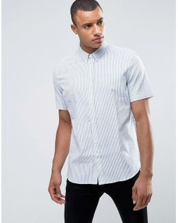 Cotton Shirt With Stripes With Short Sleeves