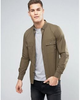 Military Style Shirt With Double Chest Pockets