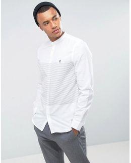 Slim Fit Grandad Shirt With Horizontal Stripe