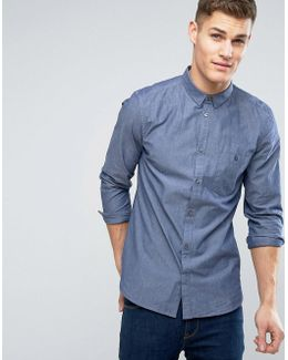 Denim Look Shirt With Double Chest Pocket