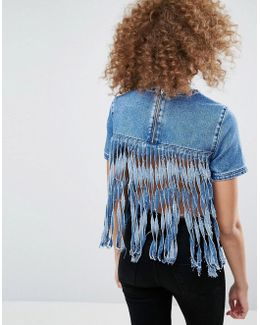 Denim Top With Fringe Back In Mid Wash Blue