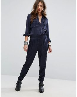 Long Sleeved Utility Jumpsuit