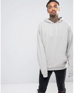 Oversized Longline Hoodie In Stone With Super Long Sleeves