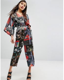 Satin Jumpsuit With Kimono Sleeve In Print