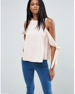 Cold Shoulder Top With Tie Sleeve