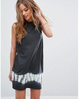 Sleeveless Swing Dress With Tie Dye Panel
