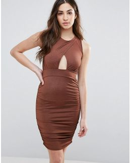 Bodycon Dress With Keyhole Front And Ruched Sides